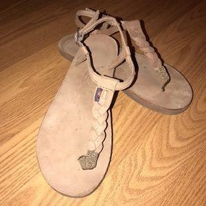 Rainbow dark brown flip flops with t strap braid